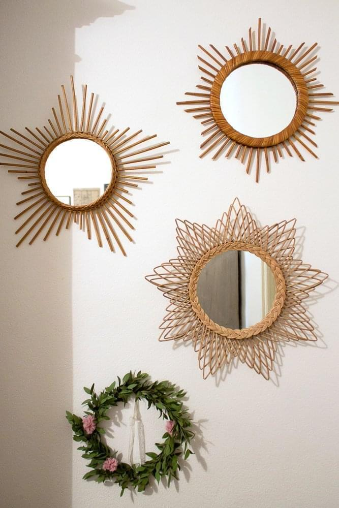 Florence bordeaux inside closet for Miroir en rotin