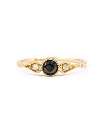 BAGUE ONE ROUND STONE ONYX & DIAMANTS