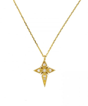 COLLIER SINGLE CROIX OR & DIAMANTS SAINTES