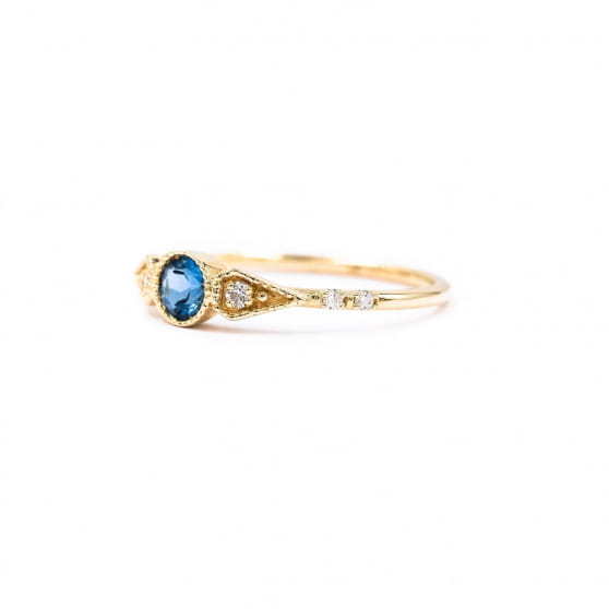 BAGUE ONE ROUND STONE TOPAZE BLEUE & DIAMANTS