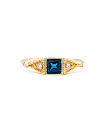 BAGUE ONE SQUARE STONE TOPAZE BLEUE & DIAMANTS