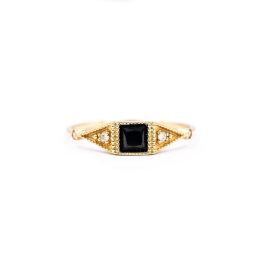 BAGUE ONE SQUARE STONE ONYX & DIAMANTS