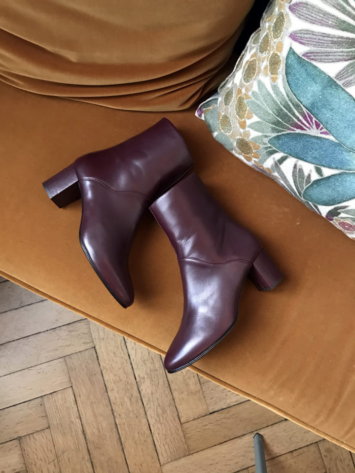 BOOTS MIMO CUIR BORDEAUX